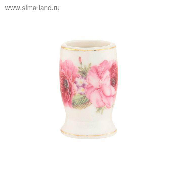 """Вазочка под зубочистки """"Розовые розы"""", бантик 3х3х5 см, 20 мл"""