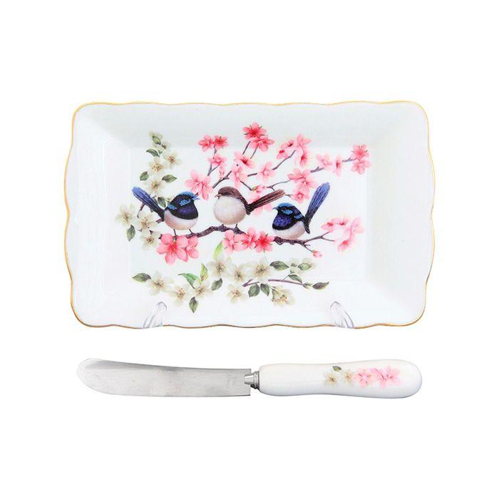 Тарелка под масло «Райские птички», нож