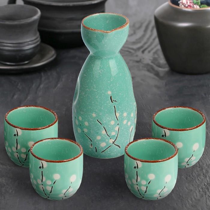 "Набор для сакэ ""Кансин"", кувшин 150 мл, 4 стакана 40 мл, цвет зеленый"