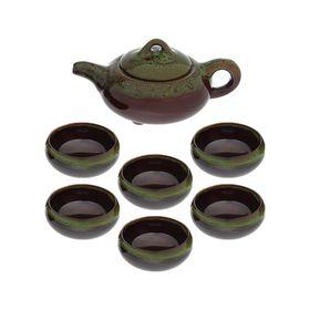 """Набор для чайной церемонии """"Черепашка"""", 7 предметов: чайник 150 мл, 6 чашек 50 мл, цвет зелёный"""