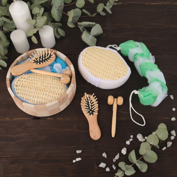 Набор банный, 4 предмета: 2 мочалки, массажёр, расчёска, цвет МИКС