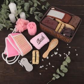 Набор банный, 7 предметов: 4 мочалки, расчёска, пемза, массажёр, цвет МИКС