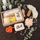Набор банный, 6 предметов: 3 мочалки, расчёска, щётка, мыло, цвет МИКС