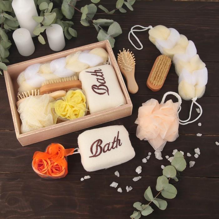 Набор банный 6 предметов: 3 мочалки, расческа, щётка, мыло, цвет МИКС