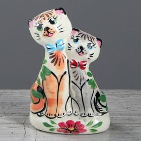"""Статуэтка """"Котики свидание"""", цветы, керамика, 13 см"""
