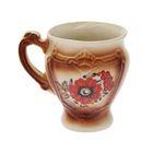 Чашка 0,3 л, коричневый, деколь, микс