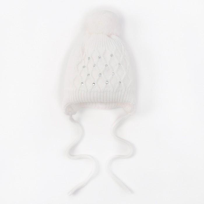 "Шапка для девочки ""Фантик-Д"", возраст 3-6 мес. (40-42), цвет белый 6726-7009пш_М"