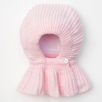 """Шапка для девочки """"Капор-мини"""", возраст 3-6 мес. (40-42), цвет розовый 6146-10с_М"""