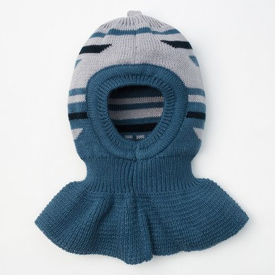 """Шапка для мальчика """"Шлем Геометрик"""", размер 44-46 (12-18 мес.), цвет джинс/серый 8294-23с_М   202559"""