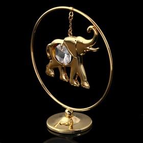 Сувенир «Слон в кольце», 3х7х8 см, с кристаллом Сваровски Ош