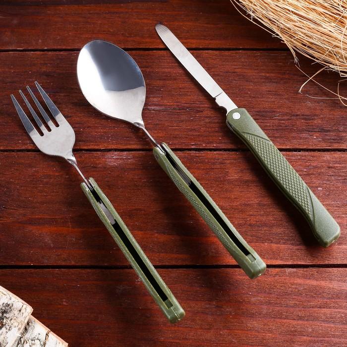Набор туриста 3в1: ложка, вилка, нож, в чехле
