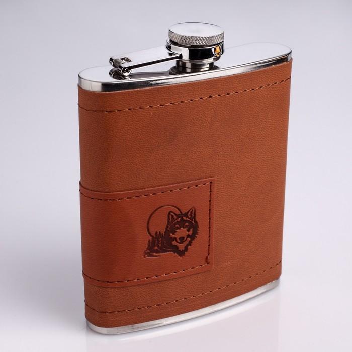 """Подарочный набор 2 в 1 """"Волк"""", коричневый: фляжка 210 мл + нож-открывалка"""