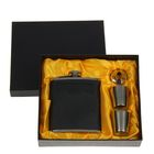 """Подарочный набор """"Командор"""" 4 в 1: фляжка чёрная 210 мл, воронка, 2 рюмки, серый, 17х19 см"""
