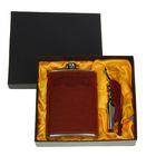"""Подарочный набор 2 в 1 """"Командор"""", коричневый: фляжка 240 мл + нож-открывалка"""