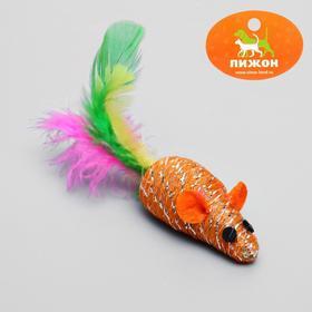 Мышь Праздничная с перьями, 7 см, микс цветов