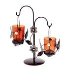 """Подсвечник на 2 свечи """"Бабочка в блестке"""" подвесной, цвет кофе"""