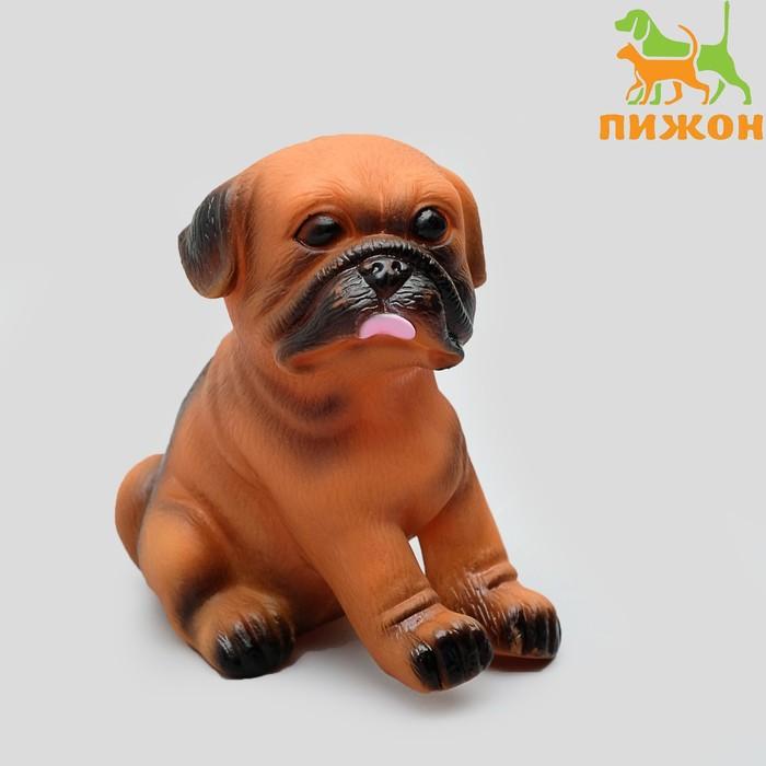 """Игрушка пищащая """"Маленький друг"""" для собак, бульдог, 9 см, микс цветов"""
