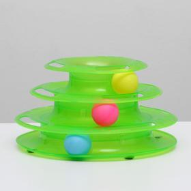 Игровой комплекс для кошек с 3 шариками, 24,5 х 24,5 х 13 см, картонная коробка, микс цветов