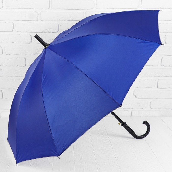 Зонт - трость полуавтоматический «Однотонный», 10 спиц, R = 56 см, цвет синий