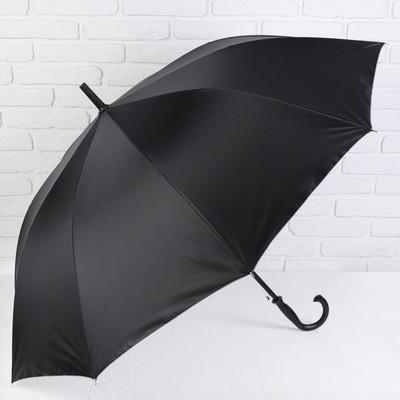 """Зонт-трость """"Однотонный"""", полуавтоматический, R=56см, цвет чёрный/серебристый"""