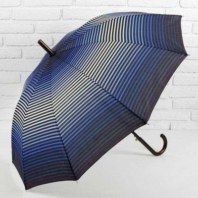 Зонт полуавтоматический «Полоска», R = 56 см, цвет синий