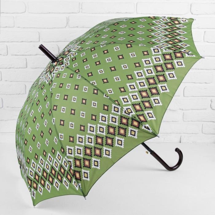 Зонт полуавтоматический «Ромбы», 10 спиц, R = 56 см, цвет зелёный