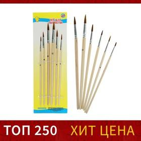 Набор кистей, нейлон, круглые, 6 шт.: №2, 4, 6, 8, 10, 12, с деревянными ручками, на блистере, средней жёсткости
