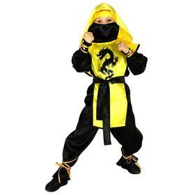 """Карнавальный костюм """"Ниндзя: Чёрный дракон"""", р-р 28, рост 104 см, цвет жёлтый"""