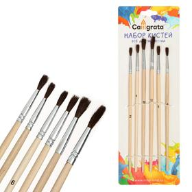 Набор кистей, «Пони», круглые, 6 штук: № 2, 4, 6, 8, 10, 12, с деревянными ручками, на блистере