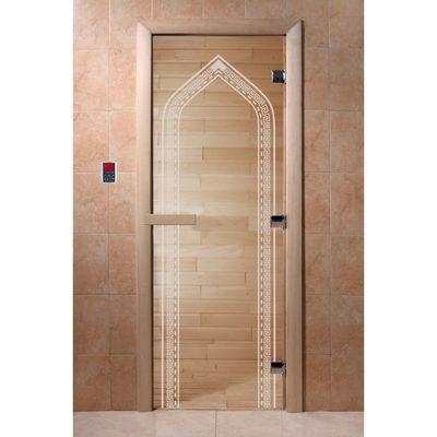 """Дверь для бани и сауны """"Арка"""" прозрачное, 8мм, УФ-печать, 190х70см"""