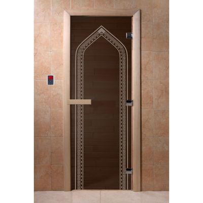 """Дверь для бани и сауны """"Арка"""" чёрный жемчуг, 8мм, УФ-печать, 190х70см"""