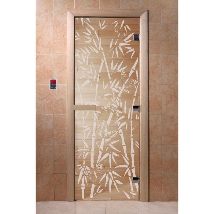 """Дверь для бани и сауны """"Бамбук и бабочки"""" прозрачная, 8мм, УФ-печать, 190х70см"""