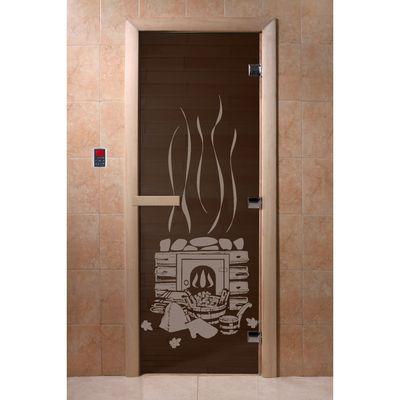"""Дверь для бани и сауны """"Банька"""" чёрный жемчуг, 8мм, УФ-печать, 200х80см"""