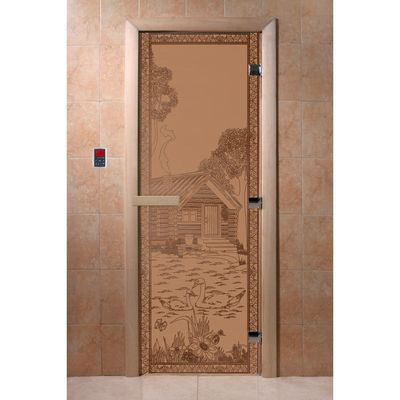 """Дверь для бани и сауны """"Банька в лесу"""" бронза, матовая, 8мм, УФ-печать, 200х80см"""