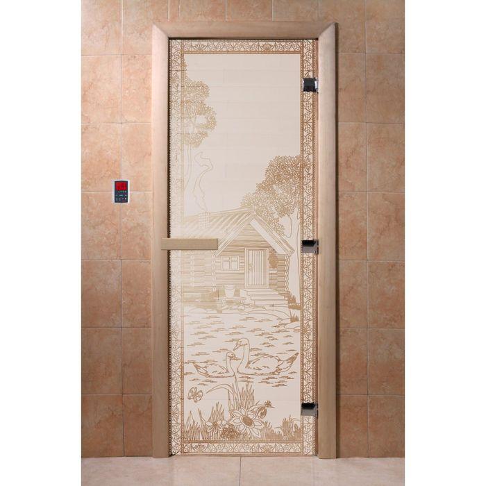 """Дверь для бани и сауны """"Банька в лесу"""" сатин, 8мм, УФ-печать, 190х70см"""
