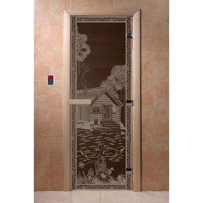 """Дверь для бани и сауны """"Банька в лесу"""" чёрный жемчуг, 8мм, УФ-печать, 190х70см"""