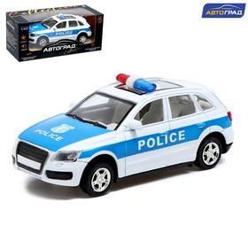 Машина металлическая «Полицейский джип», инерционная, свет и звук, масштаб 1:43