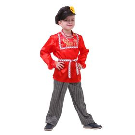 "Russian folk costume ""Khokhloma"" for the boy, R-R 68, height 134 cm"