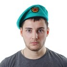 Берет военного с кокардой, р-р 54-58, цвет изумрудный