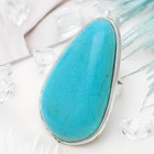"""Кольцо """"Бирюзовый мир"""" капля крупная, цвет голубой в серебре, безразмерное"""