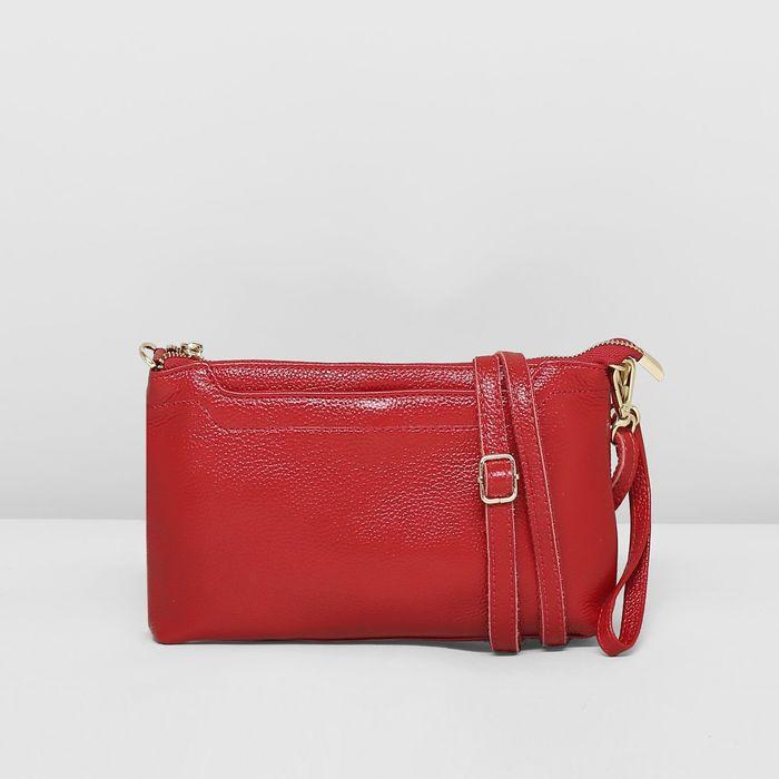Клатч женский, отдел на молнии с перегородкой, с ручкой, 2 наружных кармана, длинный ремень, цвет красный