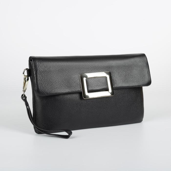 Клатч женский, отдел на молнии, наружный карман, длинный ремень, цвет чёрный