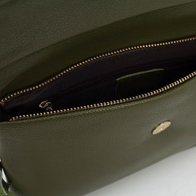 Клатч женский, отдел на молнии, наружный карман, длинный ремень, цвет зелёный