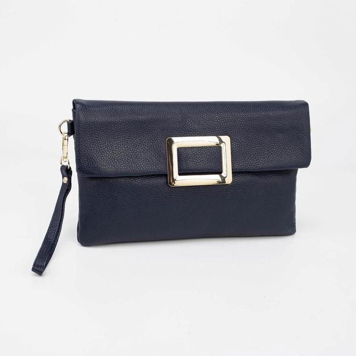 Клатч женский, отдел на молнии, наружный карман, длинный ремень, цвет синий