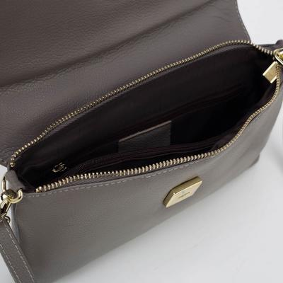 Клатч женский, отдел на молнии с перегородкой, наружный карман, длинный ремень, цвет серый