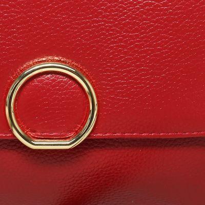 Клатч женский, отдел на молнии с перегородкой, наружный карман, длинный ремень, цвет красный