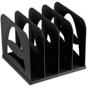 Подставка для журналов и бумаг (сортер) Стамм, сборная, 4 отделения, черная