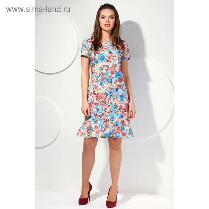 Платье женское, размер 52, принт цветочный П-416