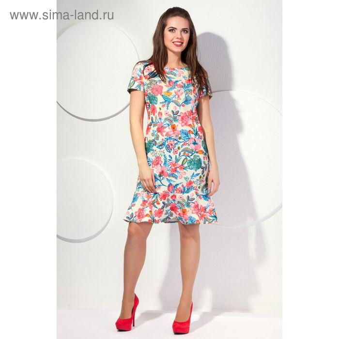 Платье женское, размер 48, принт цветочный П-416/1