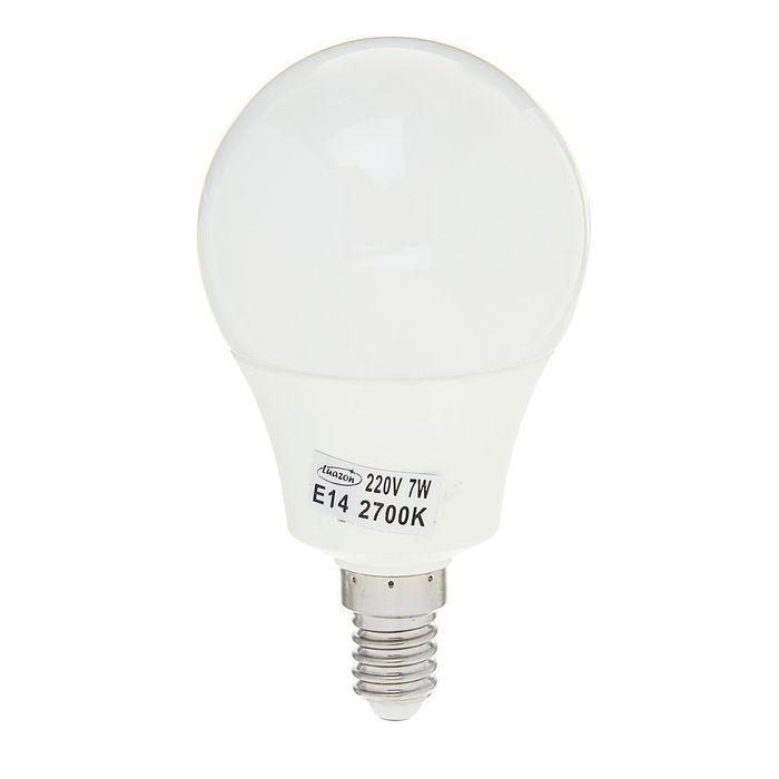 Лампа светодиодная Luazon Lighting, 7 Вт, Е14, 560 Лм, 2700 К, 180-265 В, AL радиатор